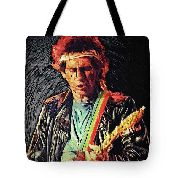 Tote Bag featuring the photograph Keith Richards by Taylan Apukovska