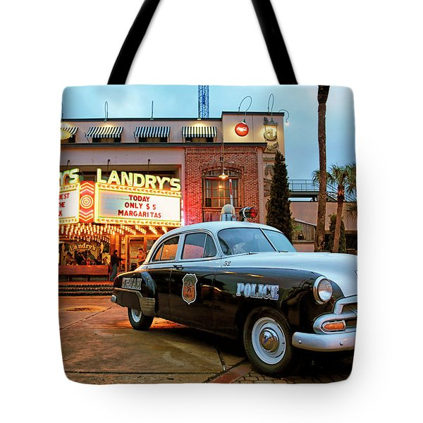 Tote Bag featuring the photograph Kemah Police Car At The Kemah Boardwalk - Texas by Jason Politte