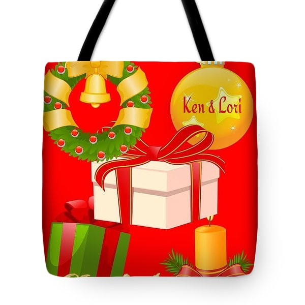 Ken And Lori Xmas Greeting  Tote Bag