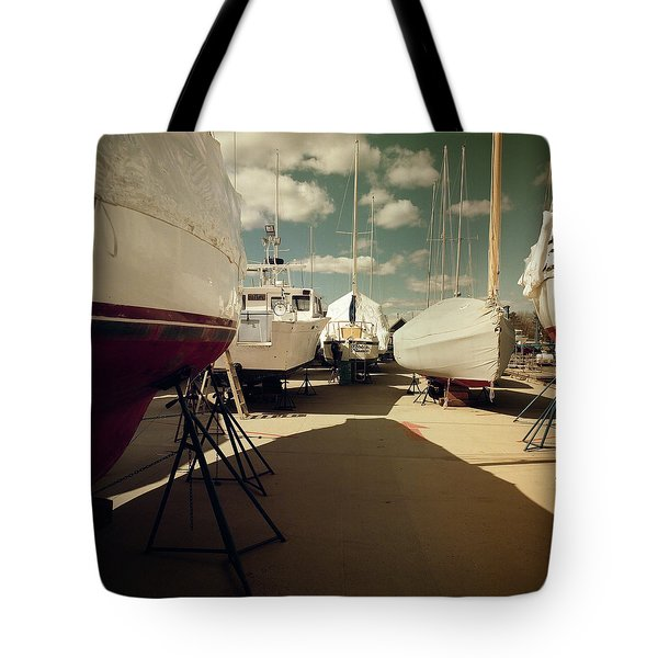 Tote Bag featuring the photograph Kennebunk...springtime In The Boatyard by Samuel M Purvis III
