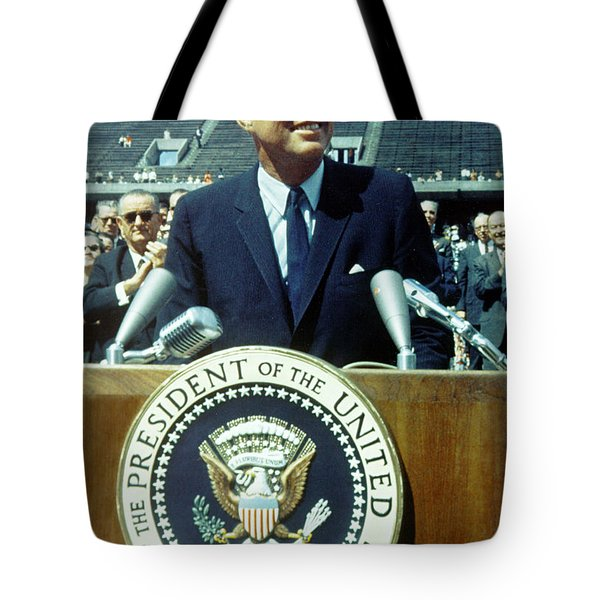 Tote Bag featuring the photograph Kennedy At Rice University by Artistic Panda