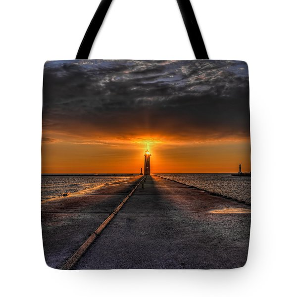 Tote Bag featuring the photograph Kenosha Lighthouse Beacon Square by Dale Kauzlaric