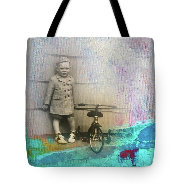 Tote Bag featuring the mixed media Kent Tricycle by Nancy Merkle