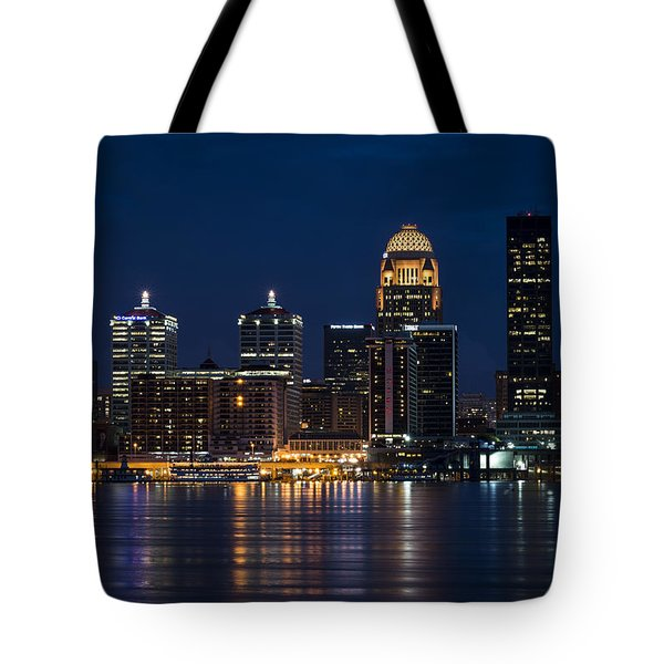 Tote Bag featuring the photograph Louisville At Night by Andrea Silies