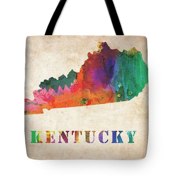 Kentucky Colorful Watercolor Map Tote Bag