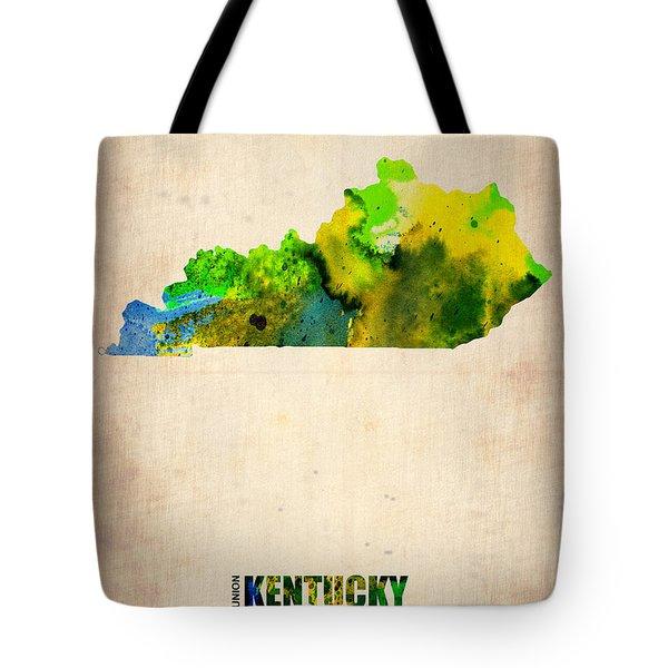 Kentucky Watercolor Map Tote Bag by Naxart Studio