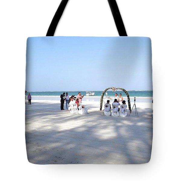 Kenya Wedding On Beach Wide Scene Tote Bag