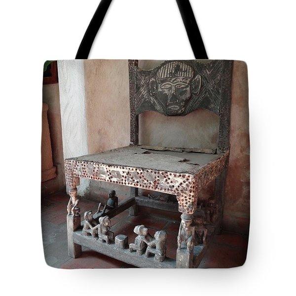 Kenyan African Antique Carved Chair Tote Bag by Exploramum Exploramum