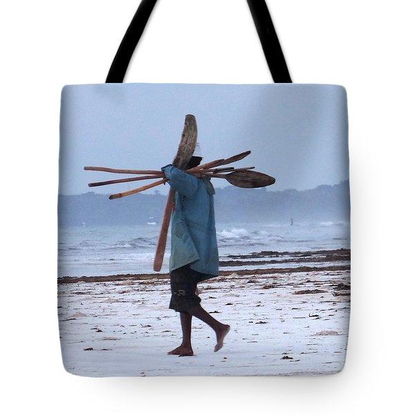 Kenyan Fisherman And Oars Tote Bag