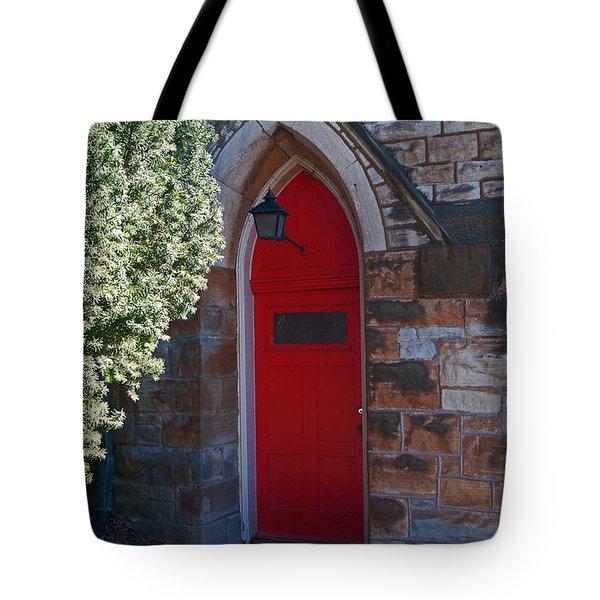 Red Church Door Tote Bag