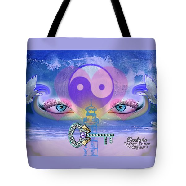 Tote Bag featuring the digital art Hope Is The Key To Balance Love And Peace by Barbara Tristan
