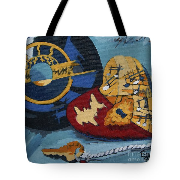 Tote Bag featuring the painting Key To The Heart by Erin Fickert-Rowland