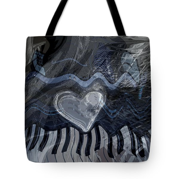 Tote Bag featuring the digital art Key Waves by Linda Sannuti
