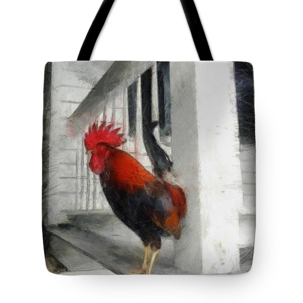Key West Porch Rooster Tote Bag