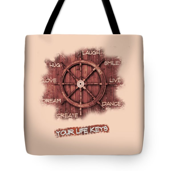 Keys To Happiness Typography On Wooden Helm Tote Bag