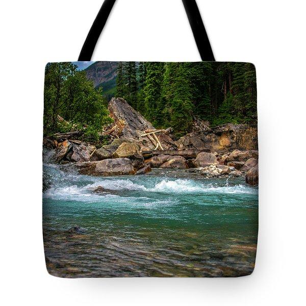 Kicking Horse And Yoho River Meet. Tote Bag