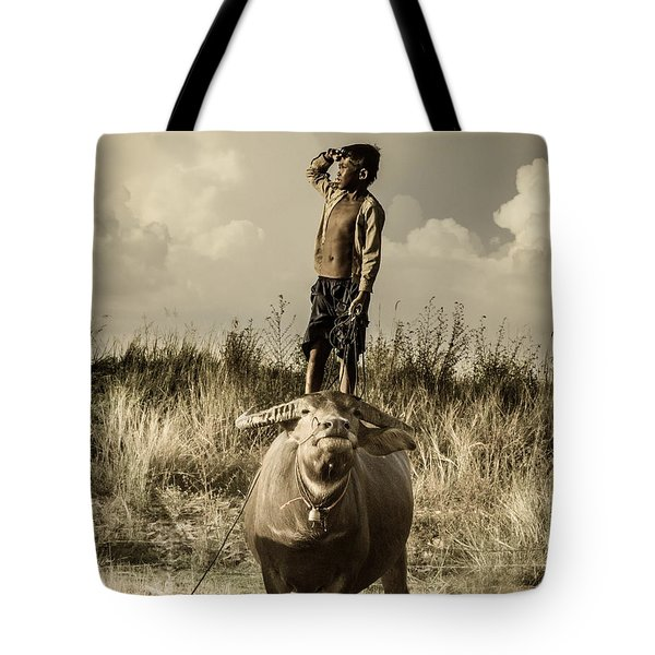 Kid And Cow Tote Bag