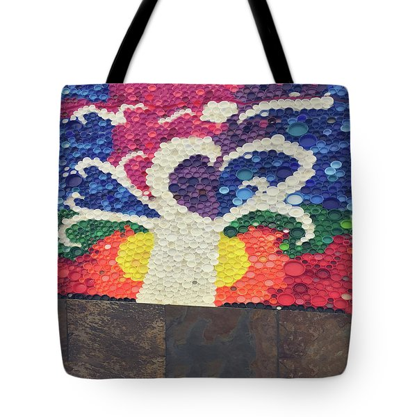 Tote Bag featuring the painting Kids Art Project Tree Made Of Bottle Plastic Caps Christmas Holidays Festivals Birthday Mom Dad Son by Navin Joshi