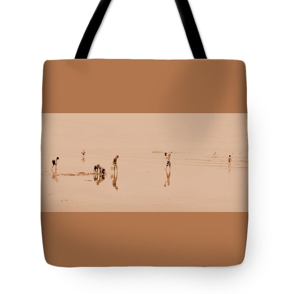 Kids At Play In Sepia Tote Bag