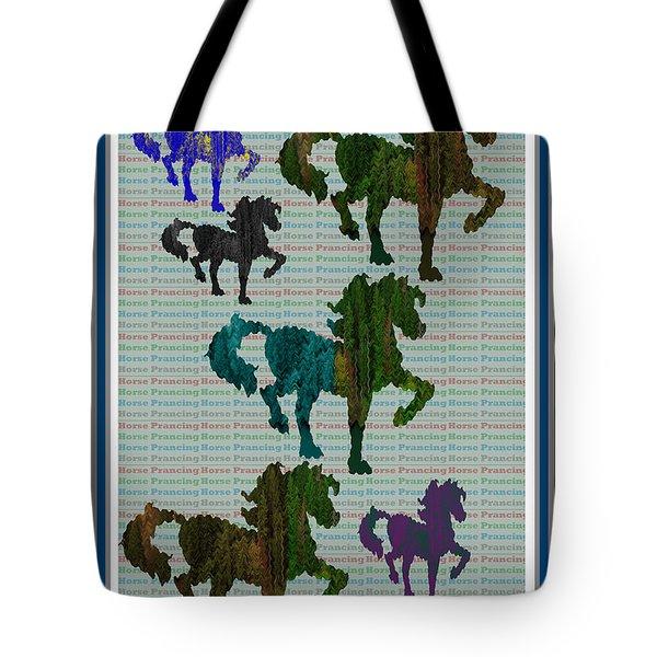 Kids Fun Gallery Horse Prancing Art Made Of Jungle Green Wild Colors Tote Bag