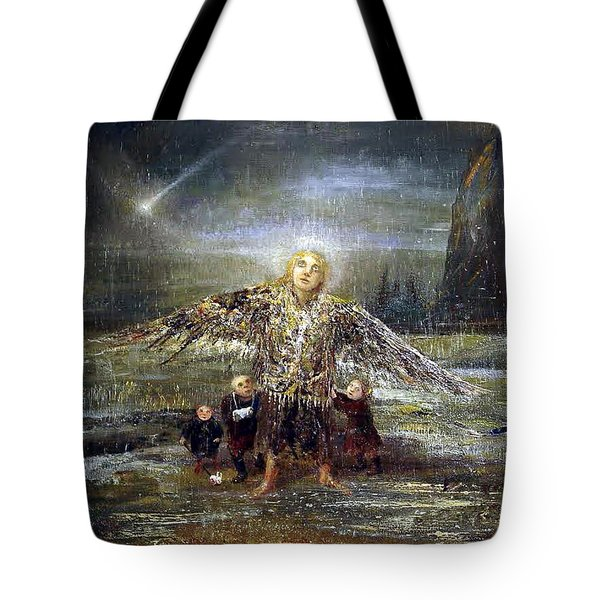 Kids Guiding The Angel Tote Bag by Mikhail Savchenko