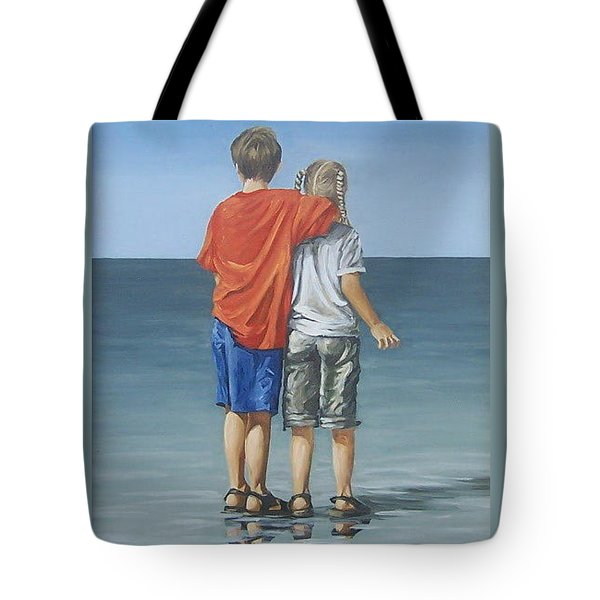 Tote Bag featuring the painting Kids by Natalia Tejera