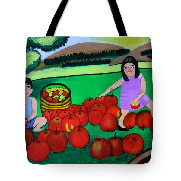 Kids Playing And Picking Apples Tote Bag by Lorna Maza