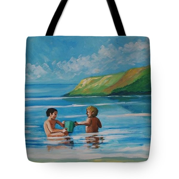 Kids Playing On The Beach Tote Bag