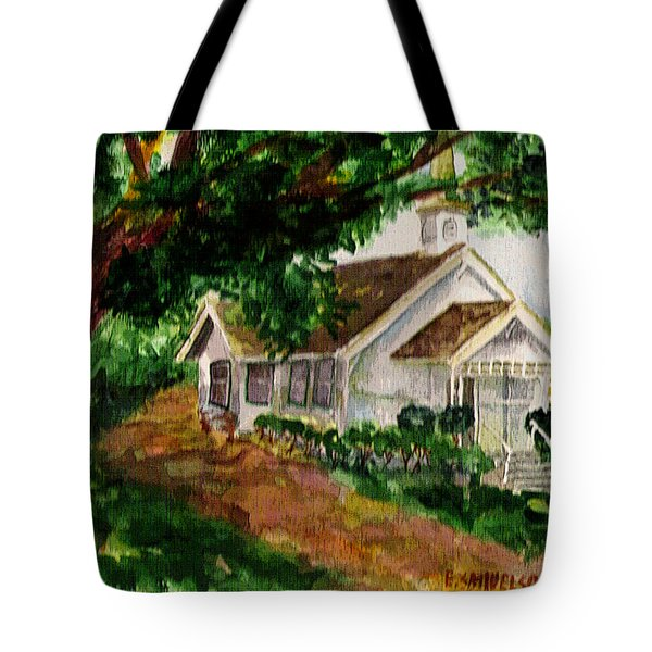 Tote Bag featuring the painting Kihei Chapel by Eric Samuelson
