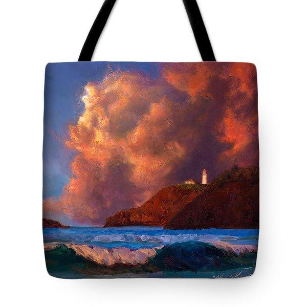 Kilauea Lighthouse - Hawaiian Cliffs Sunset Seascape And Clouds Tote Bag