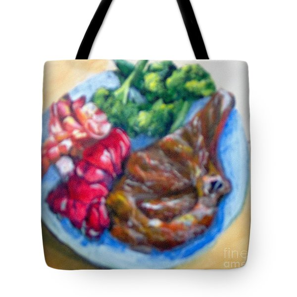 Tote Bag featuring the painting Killer Meal by Saundra Johnson