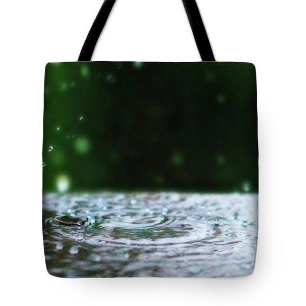 Kinetic Raindrops Tote Bag by Lisa Knechtel