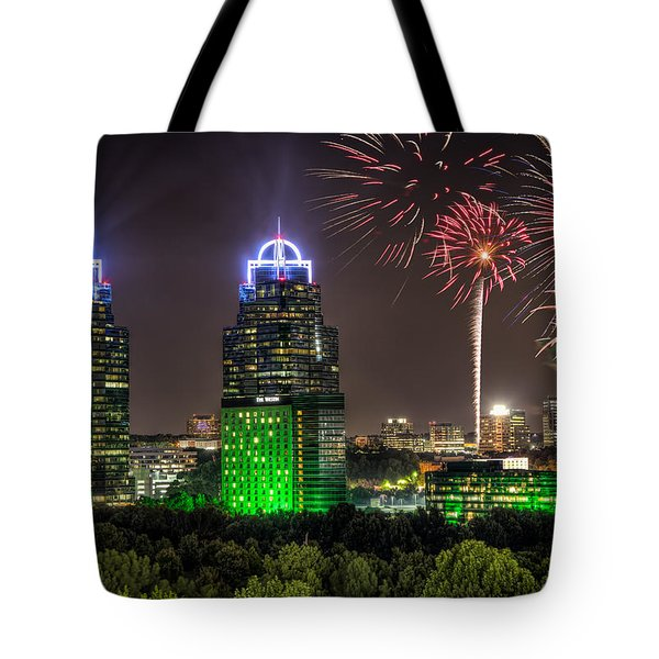 King And Queen Buildings Fireworks Tote Bag by Anna Rumiantseva