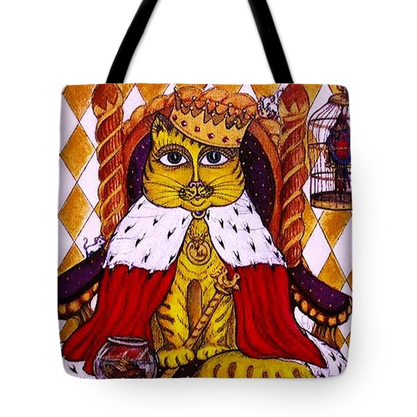 Tote Bag featuring the painting King Cat  by Rae Chichilnitsky