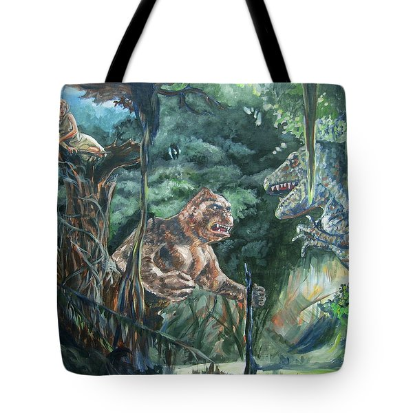 Tote Bag featuring the painting King Kong Vs T-rex by Bryan Bustard