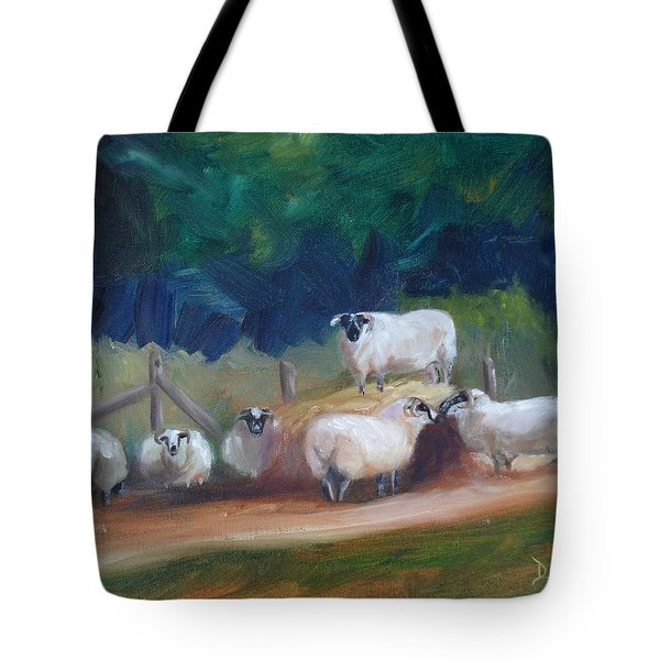 Tote Bag featuring the painting King Of Green Hill Farm by Donna Tuten