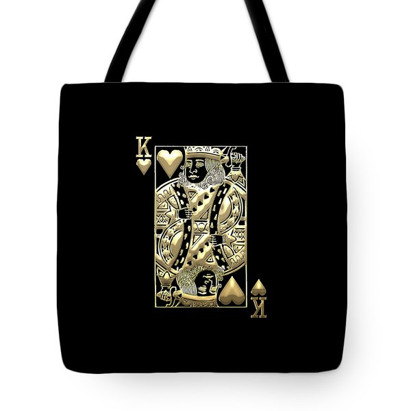 King Of Hearts In Gold On Black Tote Bag