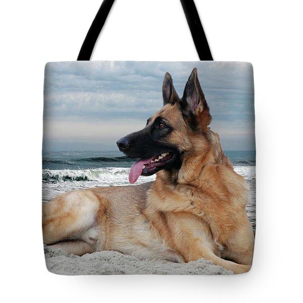 King Of The Beach - German Shepherd Dog Tote Bag