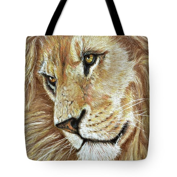 Tote Bag featuring the drawing King Of The Jungle by Heidi Kriel