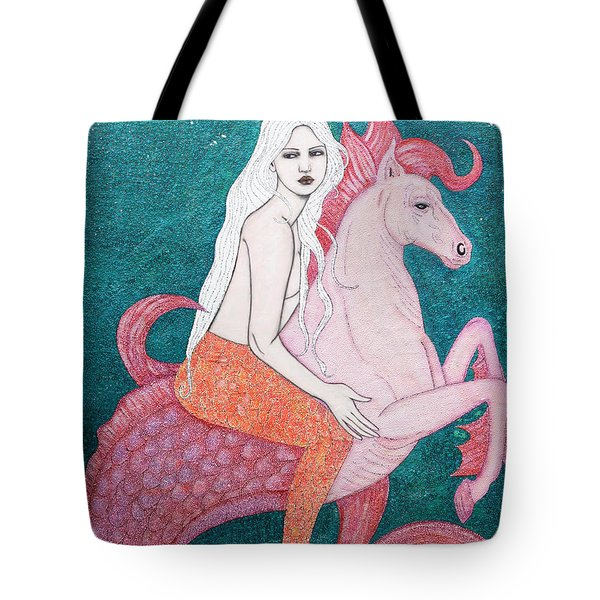 Tote Bag featuring the mixed media King Of The Sea by Natalie Briney