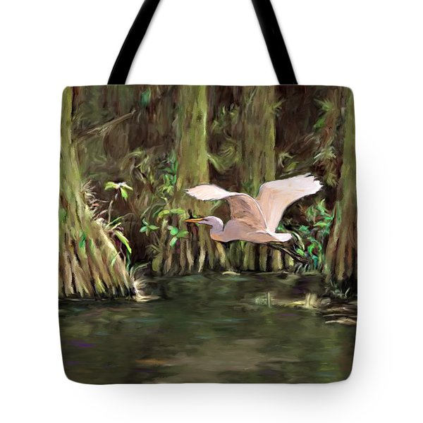 Tote Bag featuring the painting King Of The Swamp by David  Van Hulst