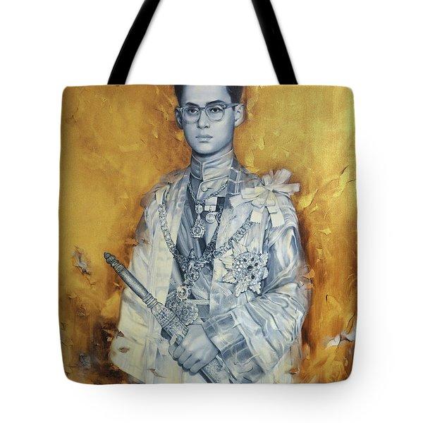 King Phumiphol Tote Bag by Chonkhet Phanwichien