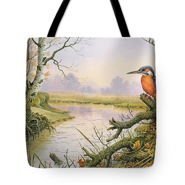 Kingfisher  Autumn River Scene Tote Bag