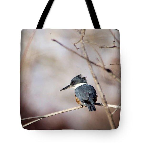 Kingfisher Contemplating Tote Bag
