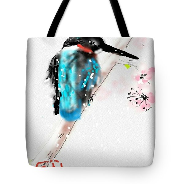 Kingfisher In Late Spring Snow Tote Bag