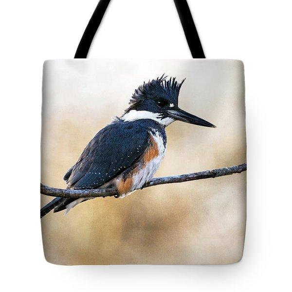 Kingfisher Listens Tote Bag
