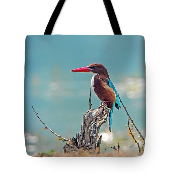 Kingfisher On A Stump Tote Bag by Pravine Chester