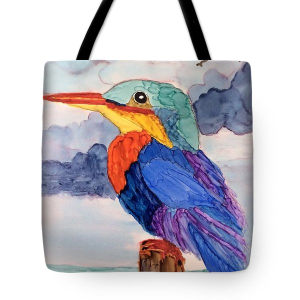 Kingfisher On Post Tote Bag by Suzanne Canner
