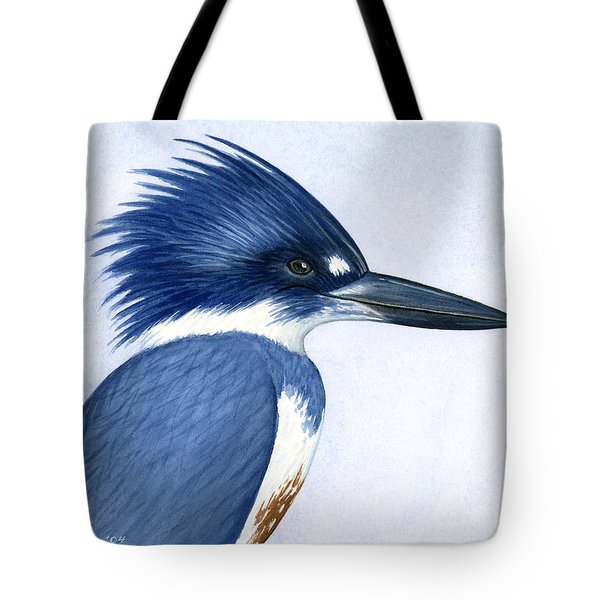 Kingfisher Portrait Tote Bag by Charles Harden