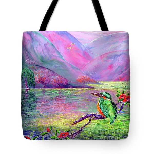 Kingfisher, Shimmering Streams Tote Bag